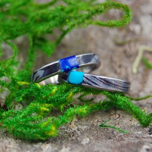 DESIRE'S WHIRLWIND | Turquoise Black M3 & Titanium - Unique Wedding Rings - Wedding Rings Set - Minter and Richter Designs