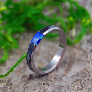 Handcrafted Women's Titanium Wedding Rings | DESIRES WHIRLWIND AZURITE - Minter and Richter Designs