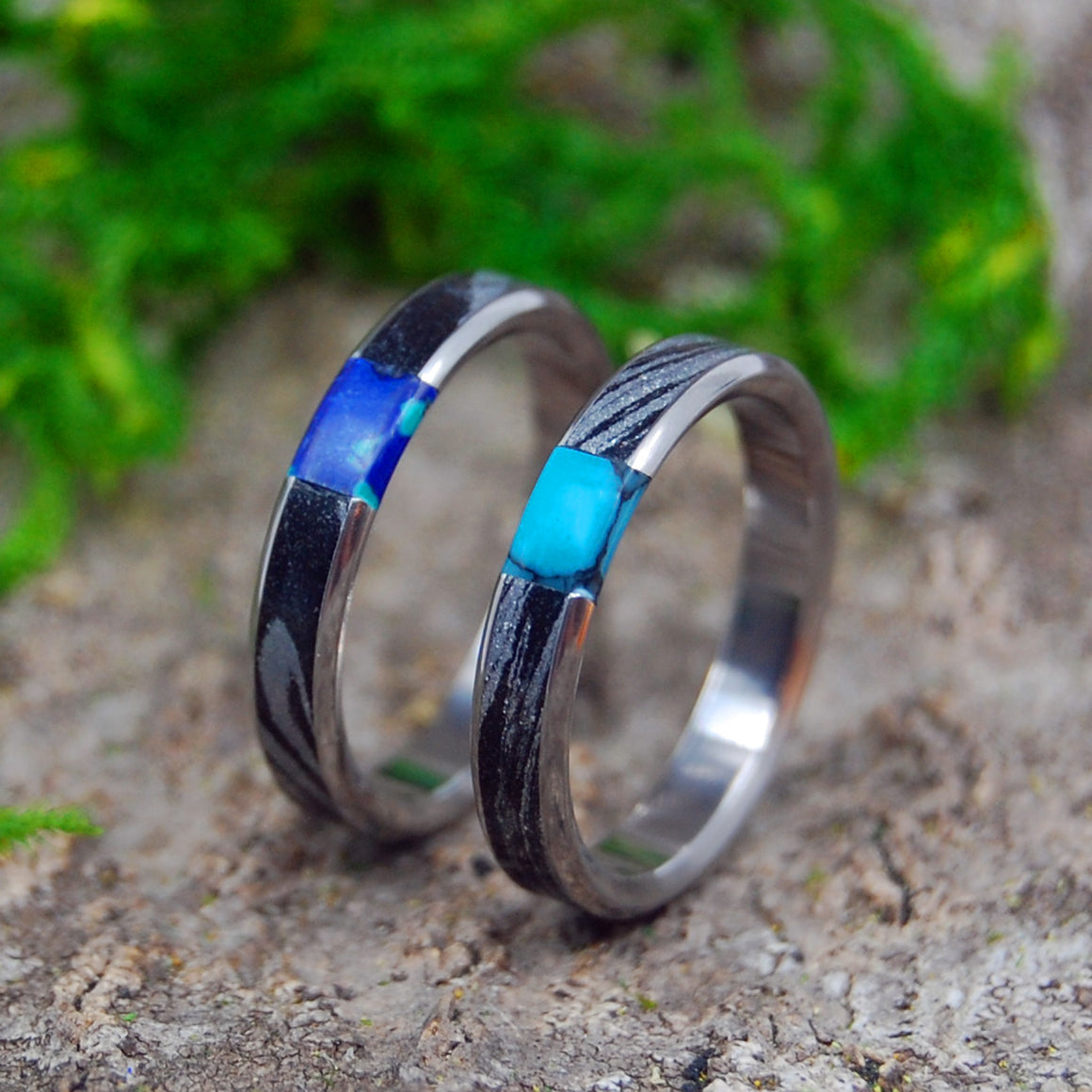Handcrafted Titanium Wedding Rings | DESIRES WHIRLWIND SET