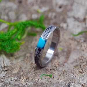 Handcrafted Women's Titanium Wedding Rings | DESIRES WHIRLWIND TURQUOISE