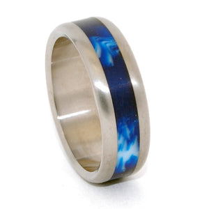 EARTH | Blue Vintage Resin - Titanium Wedding Rings - Minter and Richter Designs