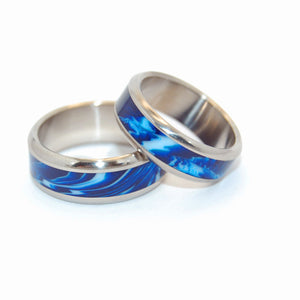 EARTH | Blue Vintage Resin - Titanium Wedding Rings set - Minter and Richter Designs