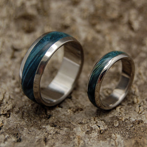 EARTHLY DELIGHTS | Blue Box Elder Wood & Titanium - Unique Wedding Rings - Wedding Rings Set - Minter and Richter Designs