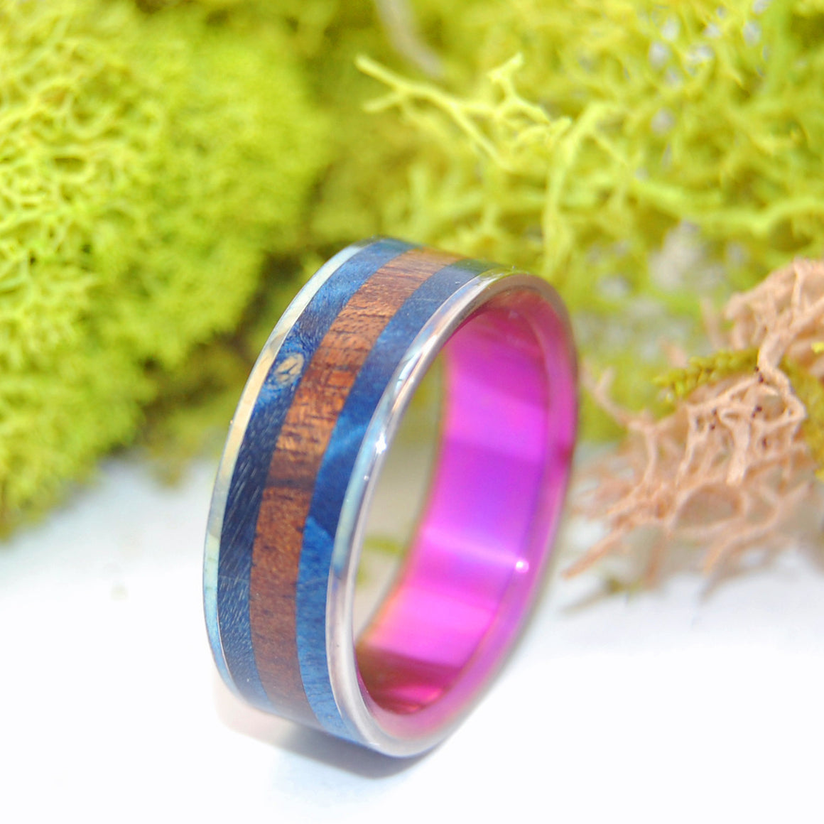 Eastern Bluebird | Wood and Hand Anodized Titanium Wedding Ring