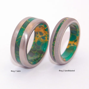 BIRD OF PARADISE SATIN | Egyptian Jade & Titanium Men's & Women's Wedding Rings Set - Minter and Richter Designs