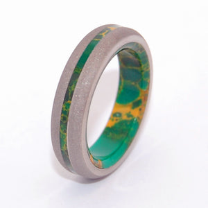 BIRD OF PARADISE | Egyptian Jade & Titanium Men's & Women's Wedding Rings - Minter and Richter Designs