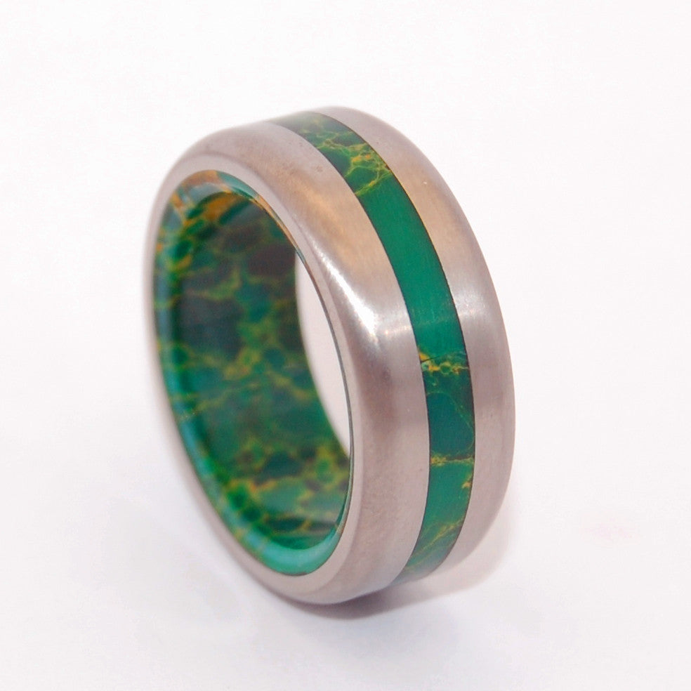 BIRD OF PARADISE SATIN | Egyptian Jade & Titanium Men's & Women's Wedding Rings - Minter and Richter Designs