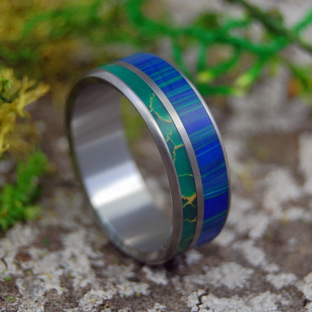 WIND FROM EARTH TO OCEAN | Jade & Azurite Stone Titanium Wedding Rings - Minter and Richter Designs
