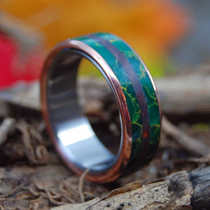JADE IN THE DESERT | Redwood & Egyptian Jade - Copper Titanium Wedding Rings - Minter and Richter Designs