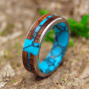 ETERNAL TURQUOISE CROSS | Koa Wood & Turquoise Titanium Wedding Rings - Minter and Richter Designs