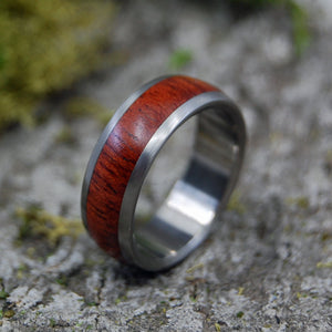Titanium Wedding Rings | STOCK SALE - EVERY DROP OF BLOOD WOOD SIZE 8.5 AT 7MM