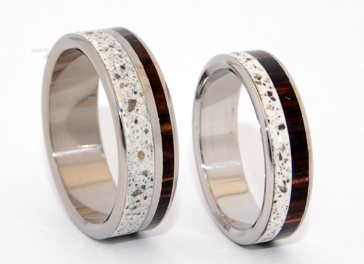 FAITH & TRUTH | Beach Sand & Palm Tree Wood Wedding Rings - Unique Wedding Rings - Minter and Richter Designs