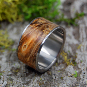 Fan The Flame | SIZE 12 AT 12.5MM | Golden Box Elder Wood | Titanium Wedding Rings | On Sale - Minter and Richter Designs