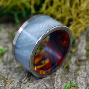 FIRE WITHIN | Resin Handcrafted Titanium Wedding Rings - Minter and Richter Designs