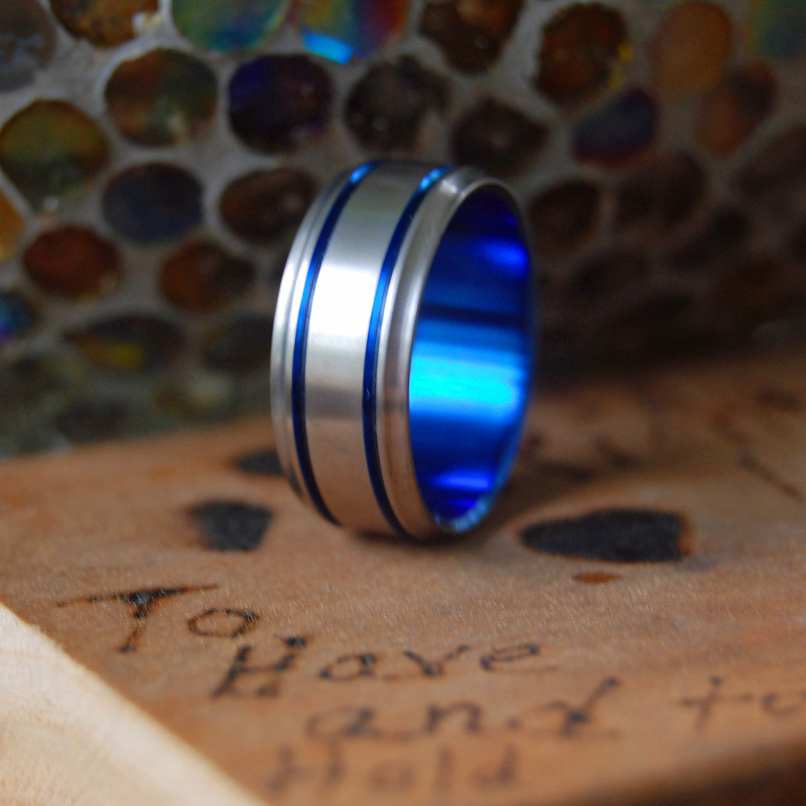 DOUBLE BLUE | Blue Anodized Wedding Ring - Titanium Wedding Rings - Minter and Richter Designs