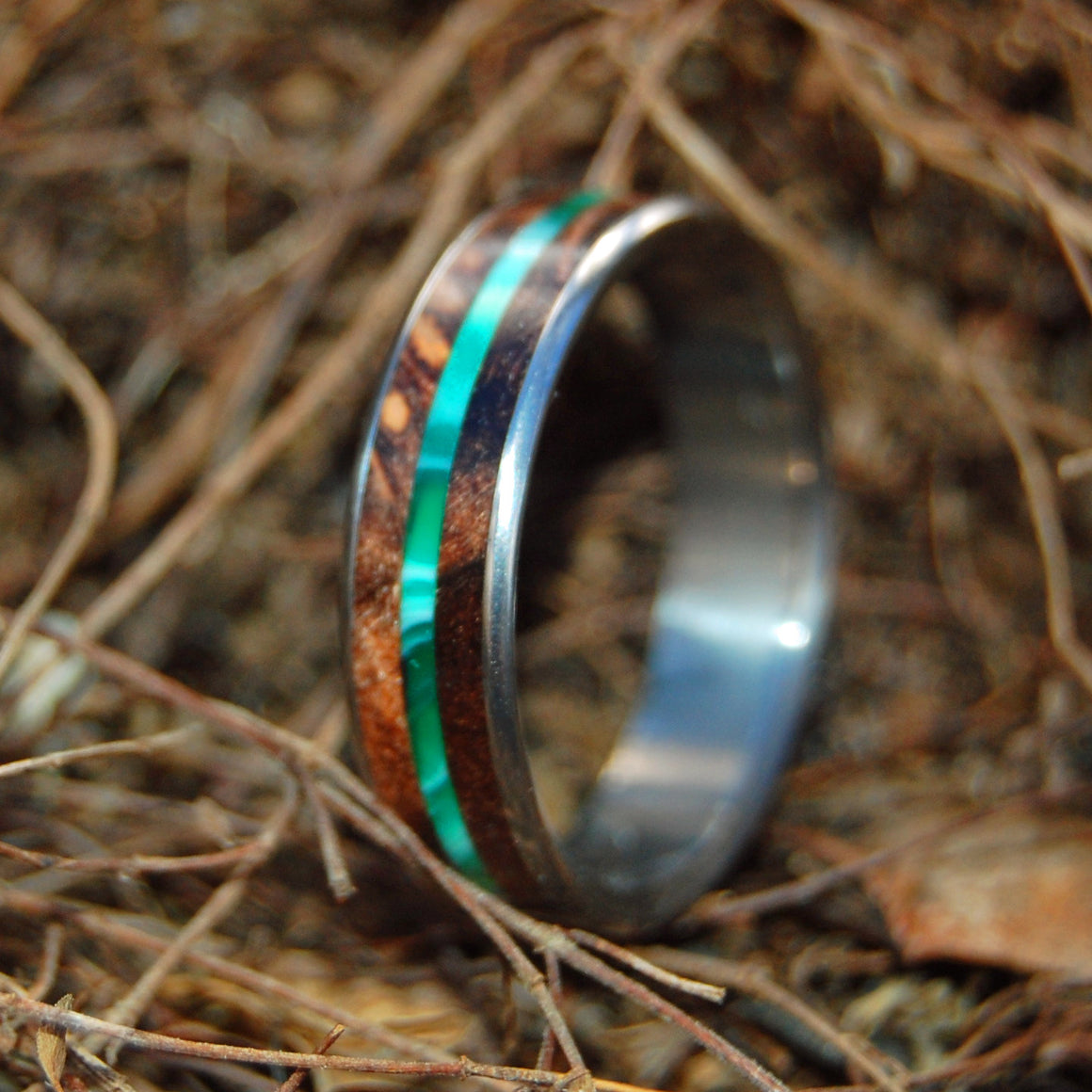 Flyer | Green and Wood Titanium Wedding Ring