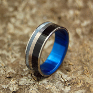 BLUE FORTRESS | Onyx Stone & Gray Pearl Marbled Opalescent Titanium Wedding Rings - Minter and Richter Designs
