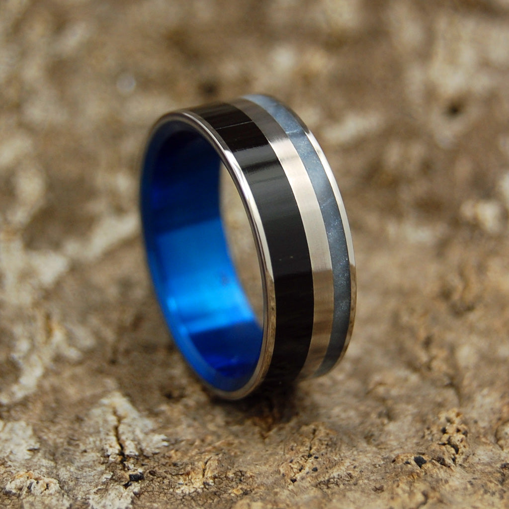 Men's Titanium Wedding Ring - Black and White in Titanium Wedding Ring | BLUE FORTRESS