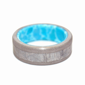 FROM THE HEAVENS | Dominican Larimar Stone & Meteorite Unique Titanium Wedding Rings - Minter and Richter Designs