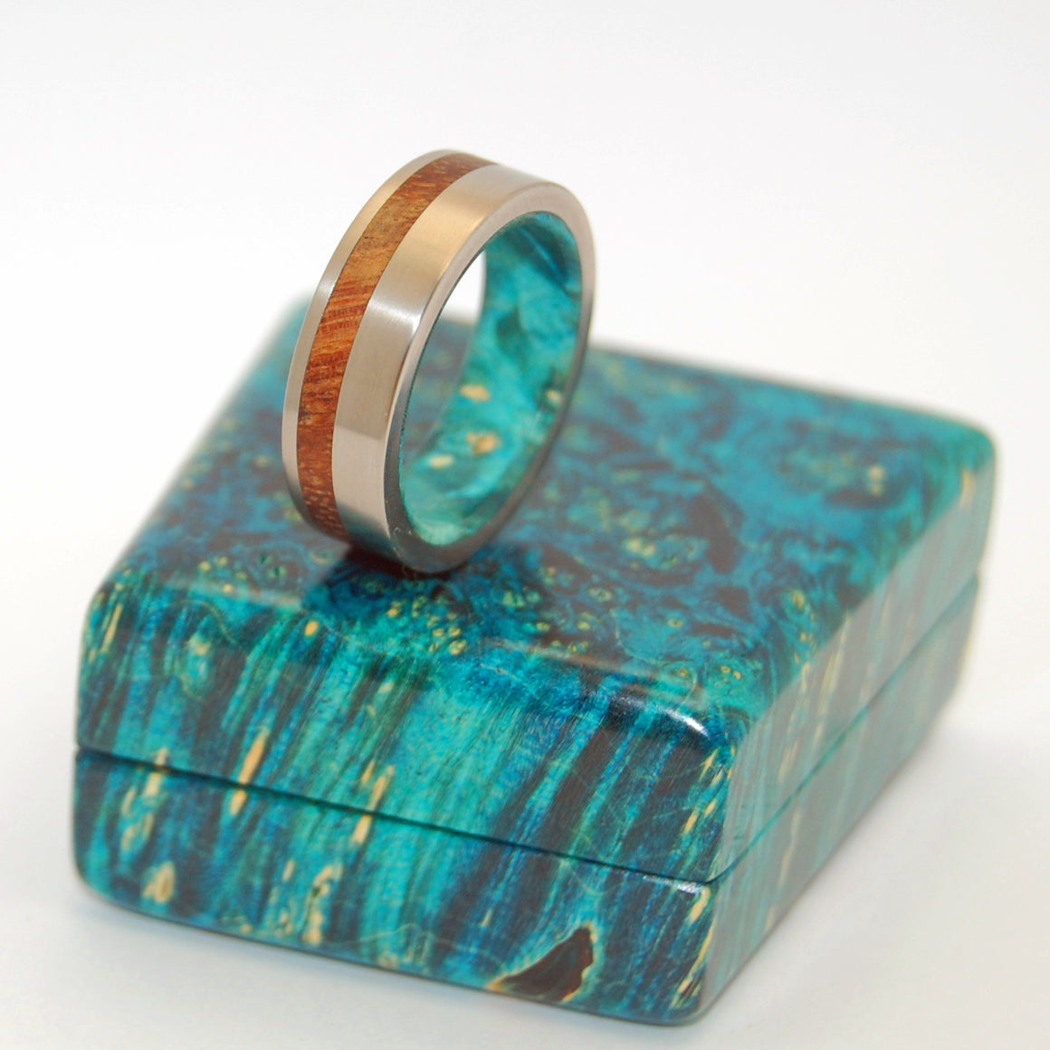 FURTHER THAN STARS | Hawaiian Koa Wood & Turquoise Box Elder - Wooden Wedding Rings - Minter and Richter Designs