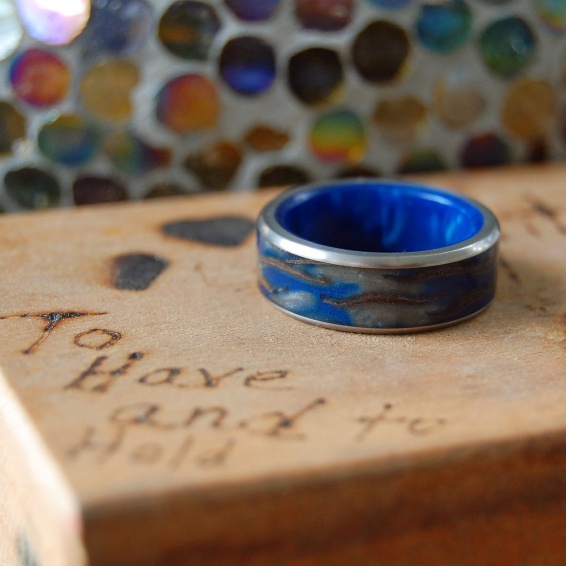 GALACTIC LOVE | Pine Cone & Blue Resin - Handcrafted Titanium Wedding Rings - Minter and Richter Designs