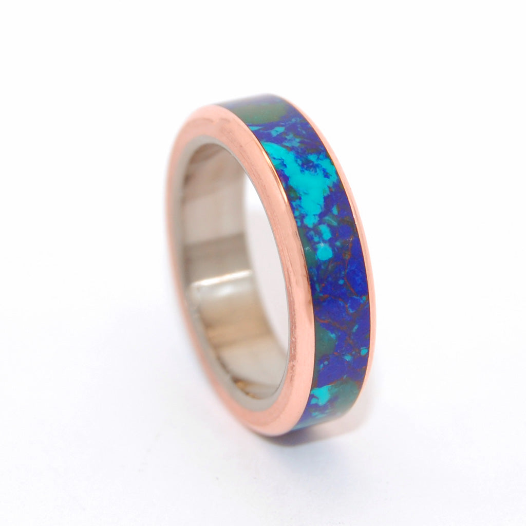 GALAXY OF HER HEART | Azurite Malachite Stone Copper Women's Wedding Rings - Minter and Richter Designs