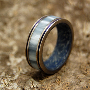 GANDALF | Gray Pearl Opalescent Resin & M3 Blue Silver Titanium Wedding Rings - Minter and Richter Designs