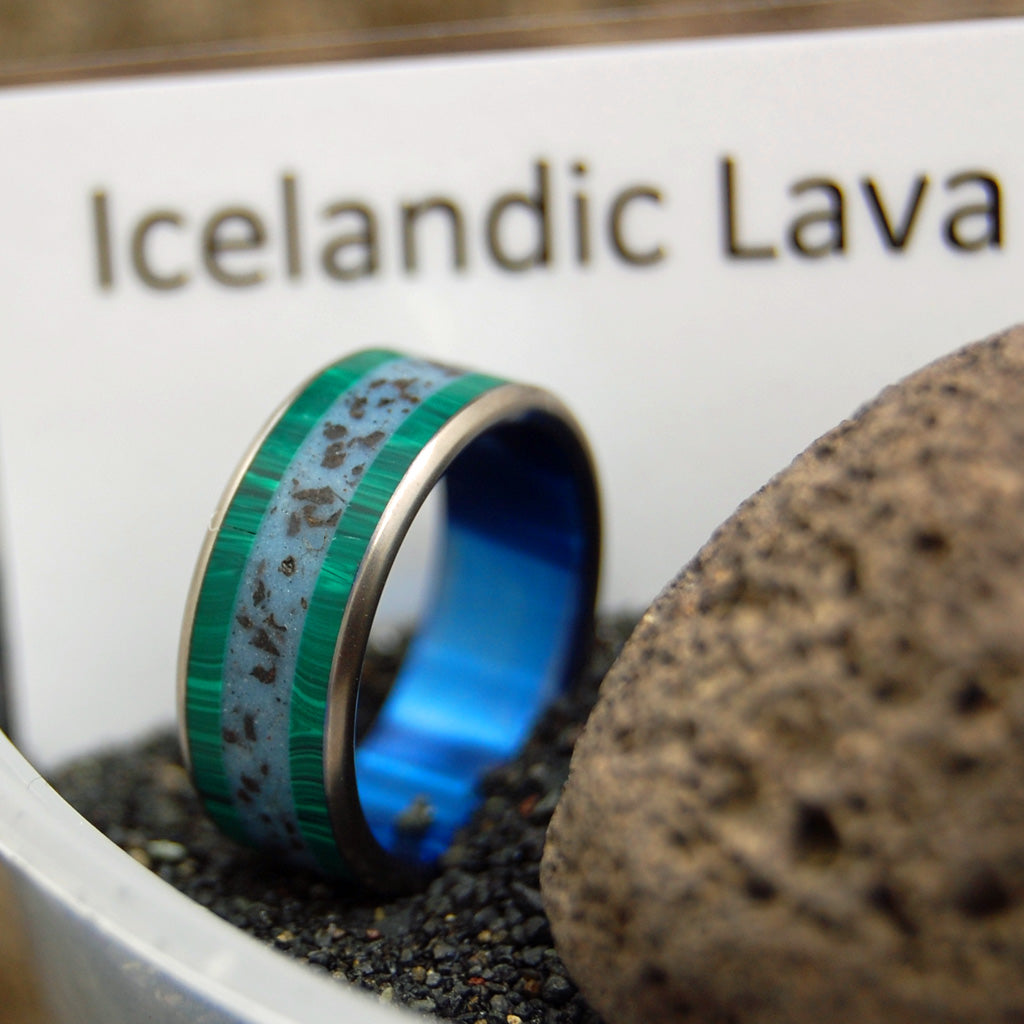 ON THE RING ROAD | Beach Sand & Icelandic Lava Malachite Titanium Wedding Rings - Minter and Richter Designs
