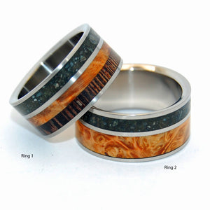 GO FORTH | Beach Sand & Golden Box Elder Wood - Unique Wedding Rings Set - Minter and Richter Designs