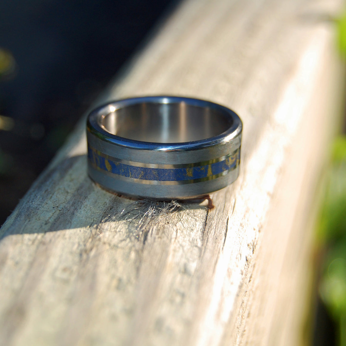 COMET'S TAIL | Meteorite & Blue Gold M3 Mokume Gane Titanium Wedding Rings - Minter and Richter Designs
