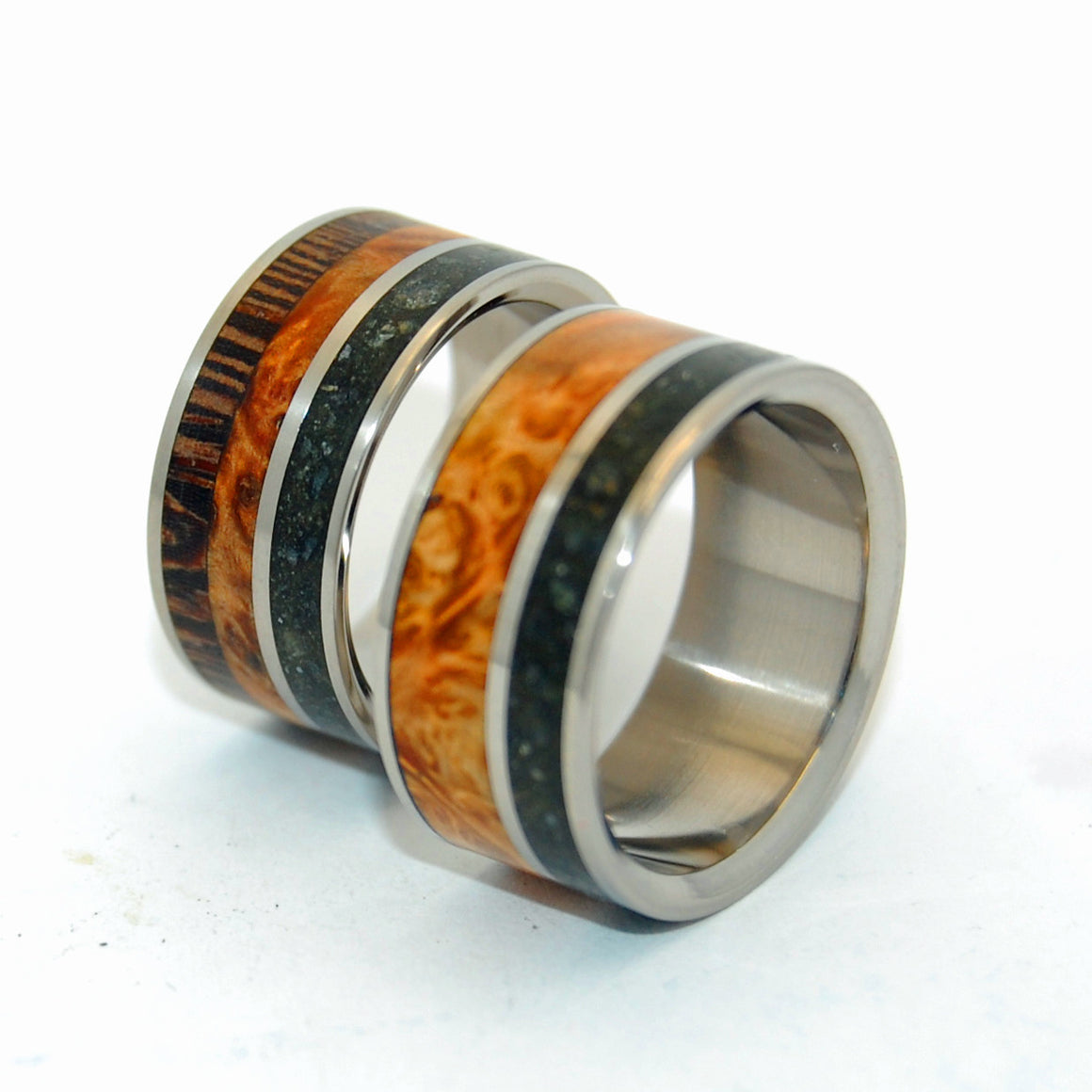 Go Forth and Bear Fruit | Concrete and Wood Wedding Ring Set