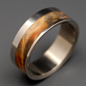 Tuck Everlasting | Golden Box Elder Wood - Titanium Wedding Ring - Minter and Richter Designs