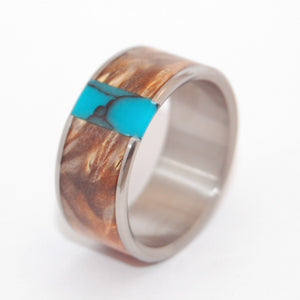 THANK GOD YOU'RE HERE! | Turquoise Stone, Box Elder Wood - Wooden Wedding Rings - Minter and Richter Designs