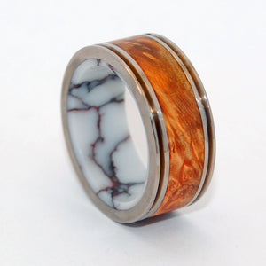 MARRIAGE MATERIAL | Wild Horse Jasper Stone & Box Elder Wood - Men's Titanium Wedding Ring - Minter and Richter Designs