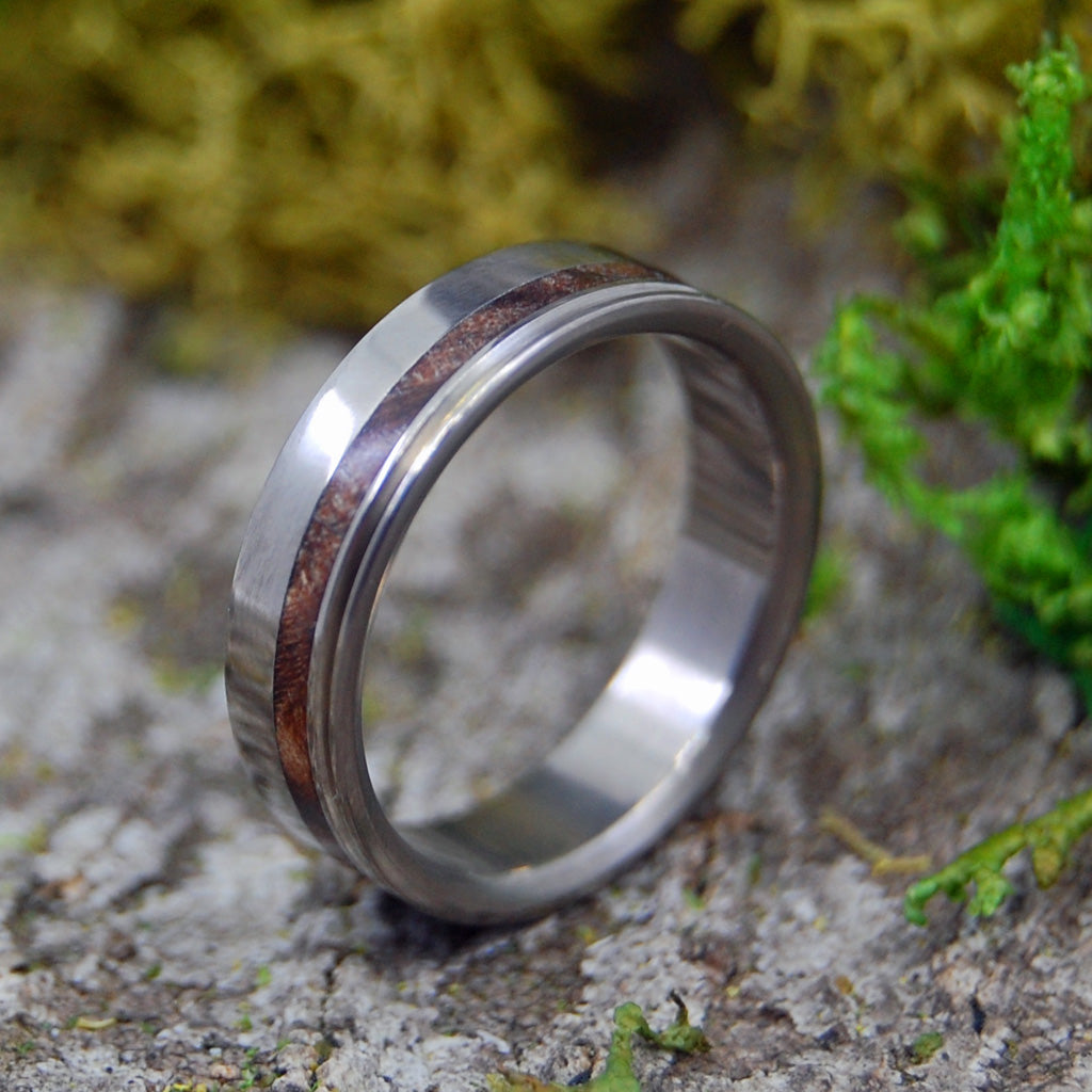 Golden Light | SIZE 7 AT 4.8MM | Dark Maple Wood | Unique Wedding Rings | On Sale - Minter and Richter Designs