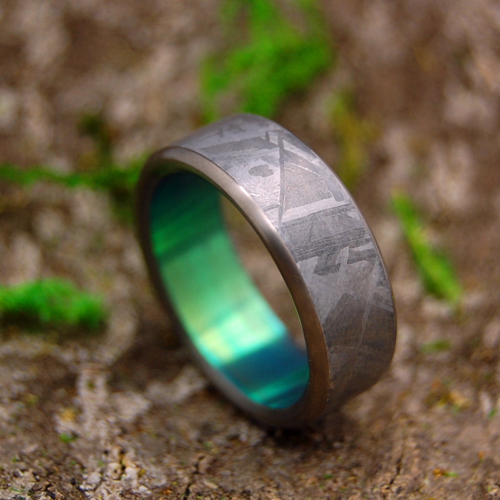 GREEN MOON LANDING | Meteorite & Green Anodized Titanium Wedding Rings - Minter and Richter Designs