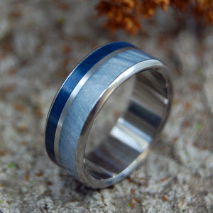 FOG RISING | Gray Pearl and Aqua Resin Wedding Rings - Minter and Richter Designs