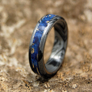 GREEK GOD | Blue Wood & M3 Titanium Men's & Women's Wedding Rings - Minter and Richter Designs