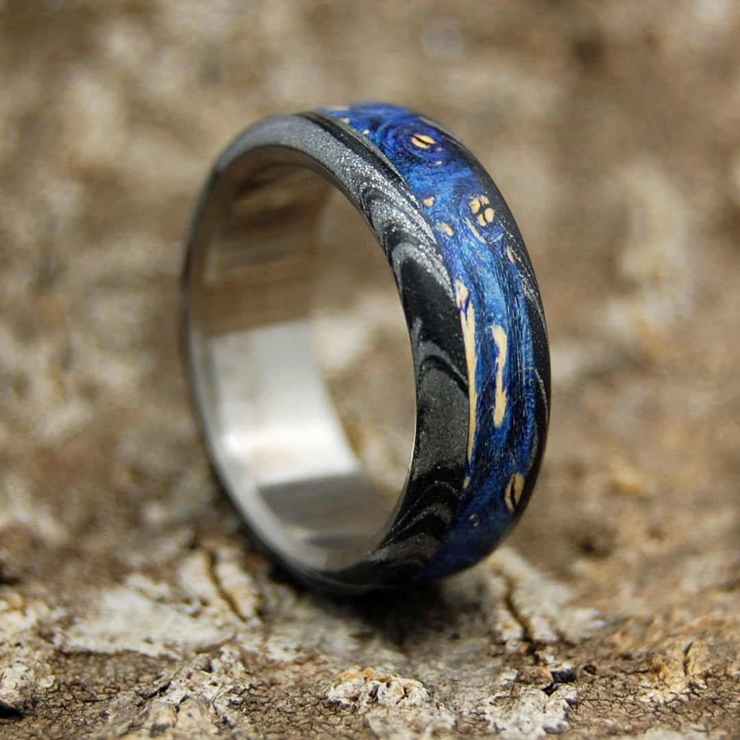 DARK GREEK GOD | Blue Wood & Black Silver M3 Mokume Gane Titanium Men's Wedding Rings - Minter and Richter Designs