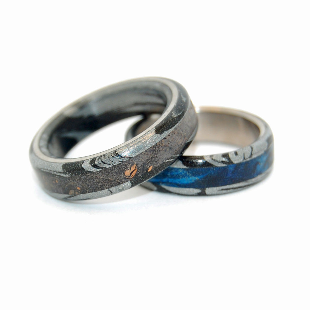 Greek God and Greek God Dons Black | Titanium and Wood Wedding Bands