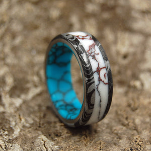 TEXAS FIRE | Turquoise Stone & Jasper Stone Black M3 Titanium Men's Wedding Rings - Minter and Richter Designs