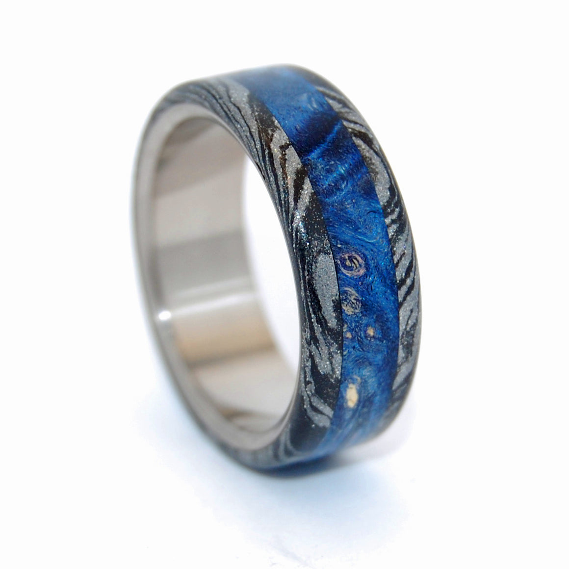 GREEK GOD | Dark Blue Wood & M3 Black Titanium Wedding Rings - Minter and Richter Designs