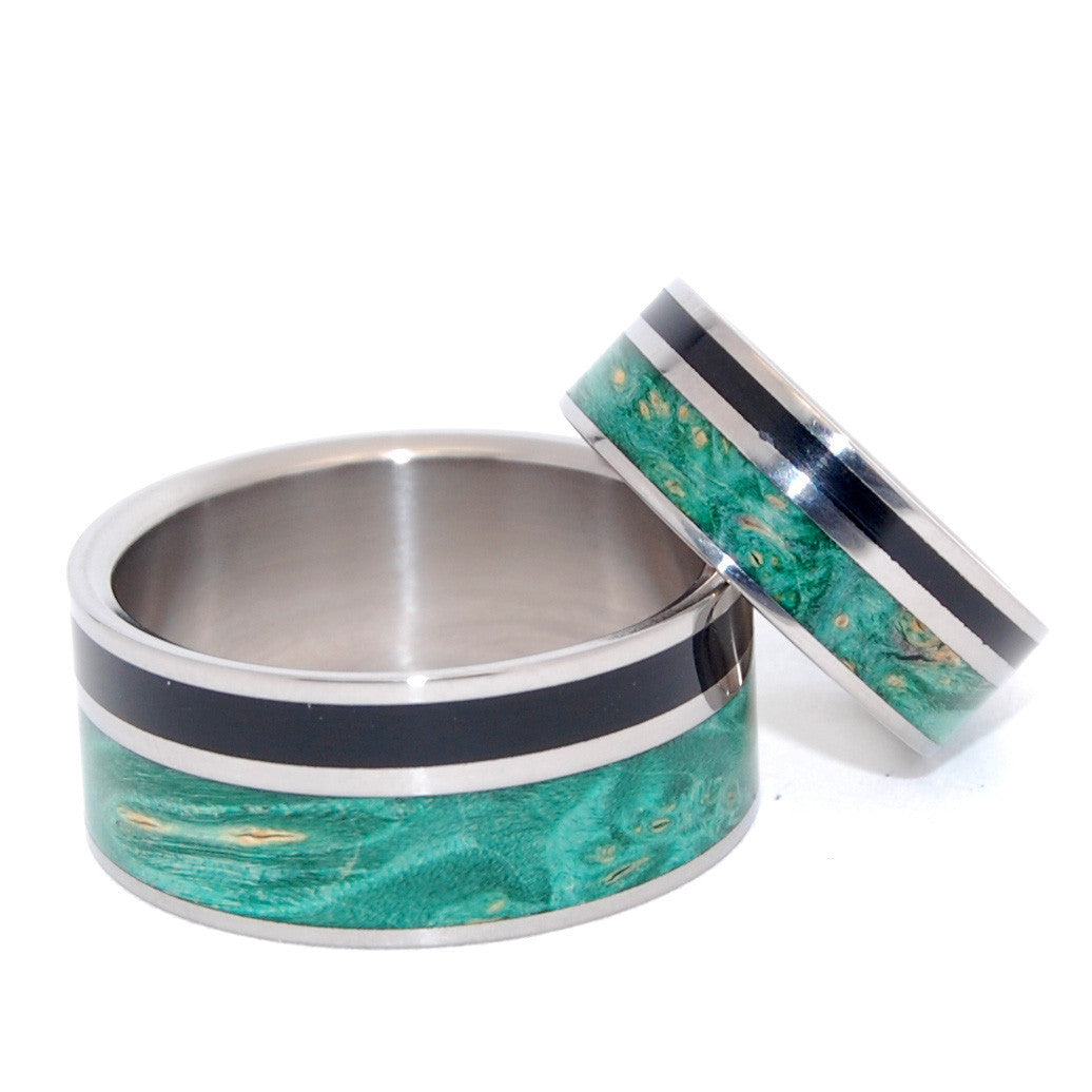 Wits That Do Agree | Horn and Wood Titanium Wedding Ring Set - Minter and Richter Designs