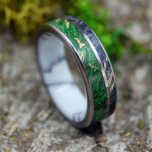 LIGHT OF DAY | Green Box Elder Wood & Jasper Stone Titanium Wedding Rings - Minter and Richter Designs