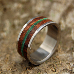 FOREST HILLS | Green Maple Wood and Red Oak Titanium Wedding Rings - Minter and Richter Designs