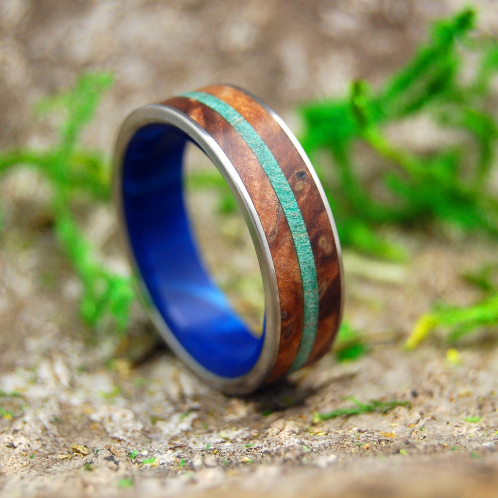 MAPLE AND OAK | Green Maple Wood & Red Oak Wood Handcrafted Titanium Wedding Rings - Minter and Richter Designs