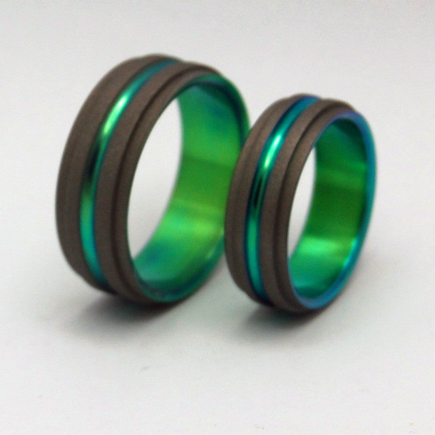 GREEN STEP FORWARD | Green Titanium - Unique Wedding Rings - Titanium Wedding Rings - Minter and Richter Designs