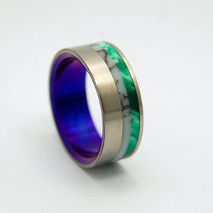 BUCKING HORSE PALACE | Wild Horse Jasper Stone & Green Vintage Resin - Unique Wedding Rings - Minter and Richter Designs
