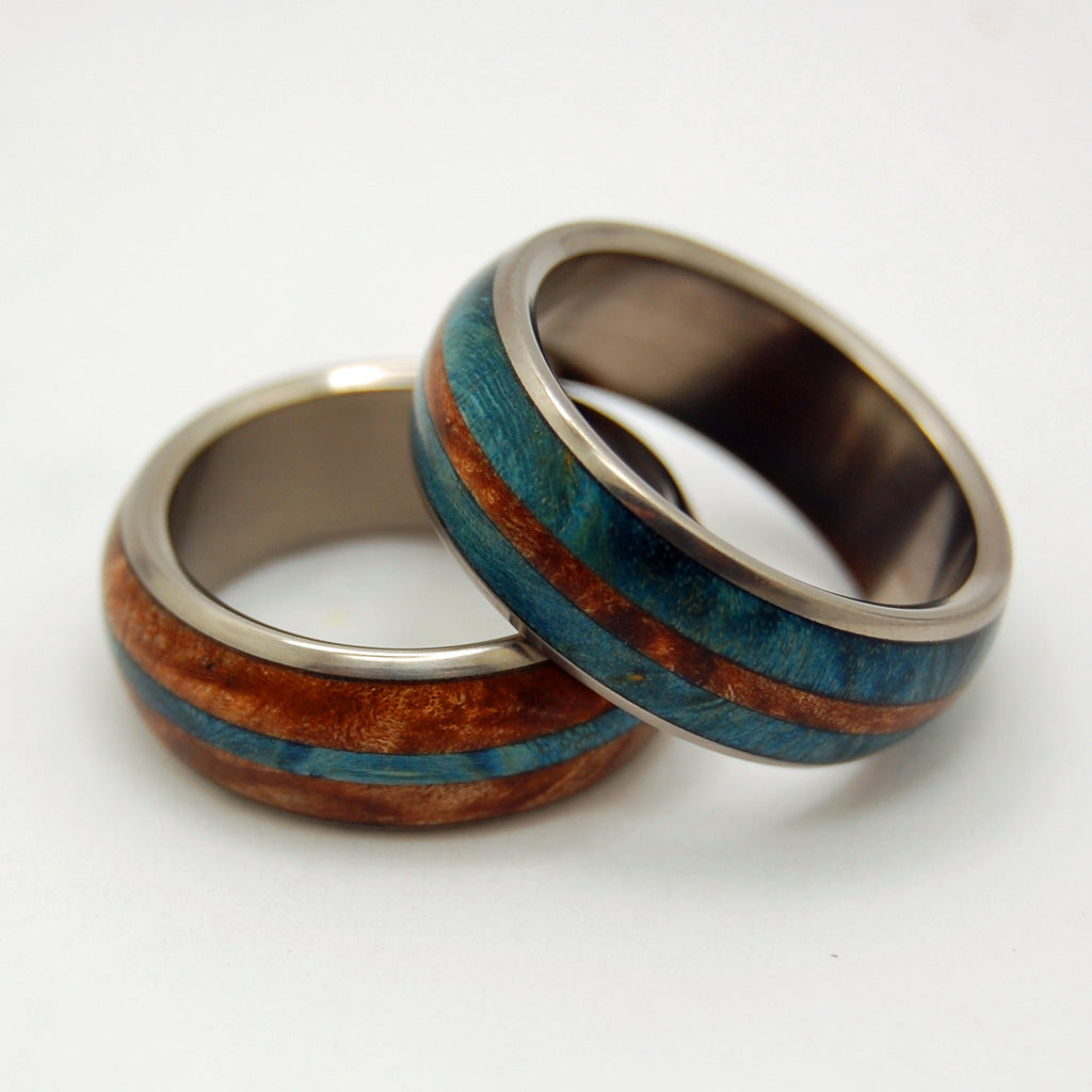 Halo Wedding Rings | Handcrafted Titanium Wooden Wedding Rings - Minter and Richter Designs