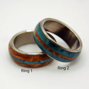 Halo Wedding Rings | Handcrafted Titanium Wooden Wedding Rings